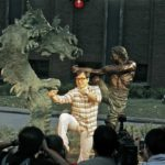 "Jackie Chan with ""Battle for Harmony"" Sculpture"